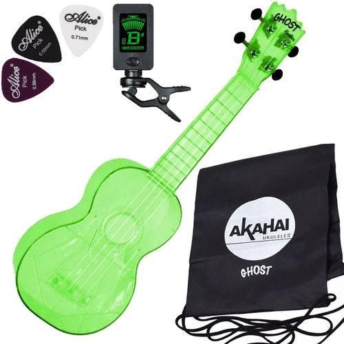 Ukulele Ghost Soprano Acústico Verde Akahai Aquila Afinador