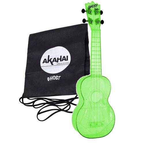 Ukulele Ghost Soprano Acústico Verde Akahai Aquila