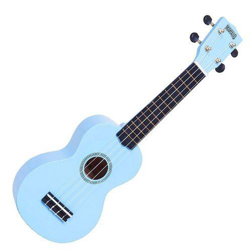 Ukulele Soprano Profissional Mahalo Azul Claro Rainbow C/ Capa. Cordas de Nylon Aquila