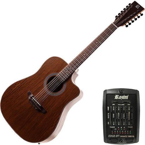 Violão Folk Ativo Eletroacústico 12 Cordas Rx415at Rozini