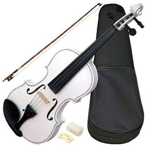 Violino Acústico 4/4 Branco Vdm44 com Arco Breu Estojo