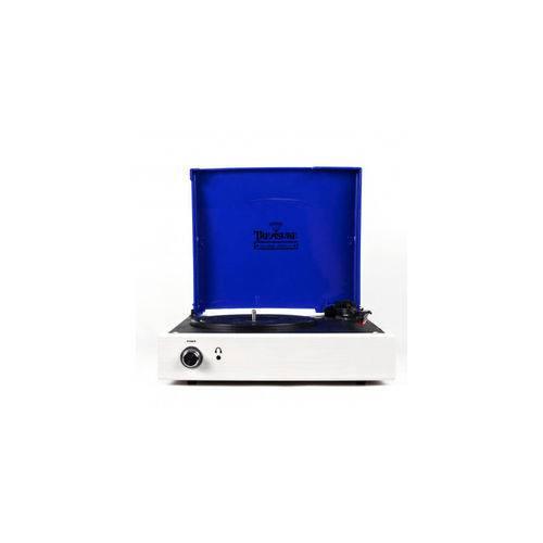 Vitrola Toca Discos Baú Treasure - Branco/Azul com Software de Gravação para MP3 Echo Vintage