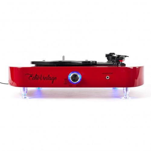 Vitrola Toca Discos Luminous - Vermelha com Iluminação de LED - Echo Vintage