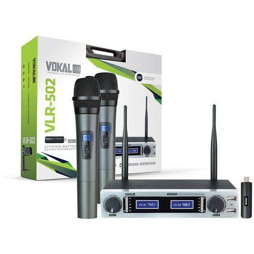 Vokal VLR 502 | Microfone Sem Fio Duplo com Bateria